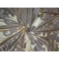 SILK BROCADE FABRIC Metallic Gold & Ivory COLOR