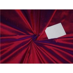 100% PURE SILK DUPIONI FABRIC RED X BLUE SHOTS 54""