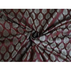 BROCADE JACQUARD FABRIC INDIAN DEEP RED & LIGHT GOLD