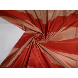 "SILK TAFFETA FABRIC BLOOD RED X GOLD STRIPES 54"" TAFS129[2]"