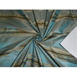 SILK TAFFETA FABRIC BLUE X GOLD SATIN STRIPES 54""