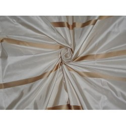 "SILK TAFFETA FABRIC CREAM WITH GOLD SATIN COLOR STRIPES 54"" wide sold by the yard"