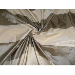 "SILK TAFFETA FABRIC DUSTY GREEN X CREAM COLOR STRIPES 54"" wide sold by the yard"