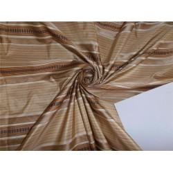 SILK TAFFETA FABRIC GOLD X BROWN SATIN STRIPES COLOR 54""