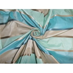 "SILK TAFFETA FABRIC GREEN,BLUE,BEIGE COLOR 54"" WITH SATIN STRIPES"