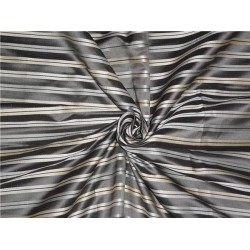 SILK TAFFETA FABRIC GREY IVORY & CREAM COLOUR WITH SATIN STRIPES 54""