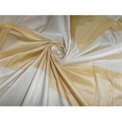 "silk taffeta fabric light gold x cream color stripes  54"" width"