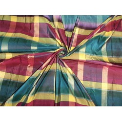 "SILK TAFFETA FABRIC MULTI COLOR 54"" PLAID"