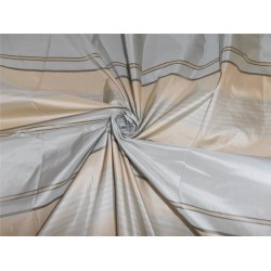 SILK TAFFETA FABRIC POWER BLUE,CREAM AND BROWN STRIPES COLOR 54""