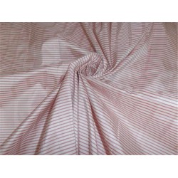 SILK TAFFETA FABRIC RED X WHITE WITH JACQUARD STRIPES COLOR 48""