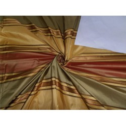 SILK TAFFETA FABRIC YELLOW,RED X GOLD SATIN STRIPES 54""