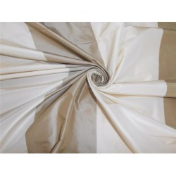 SILK TAFFETA FABRIC OFFWHITE X OLIVE GREEN STRIPES COLOR 54""