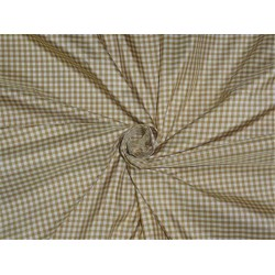 "100% pure silk taffeta fabric ivory, brown  color plaids 54"" wide"