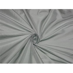 100% pure silk taffeta fabric light silver x mint green color plaids