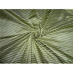 PURE SILK TAFFETA FABRIC LIME YELLOW WITH BLACK COLOUR STRIPES