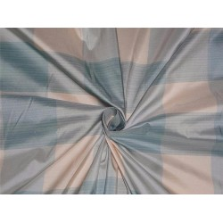 SILK TAFFETA FABRIC IVORY CREAM GREY GREYISH BLUE COLOR PLAIDS