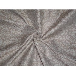 """Viscose Silk Brocade 44""""inches Beige,Ivory and Metallic Gold Color"""