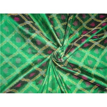 100% pure silk dupioni ikat fabric in green 44""