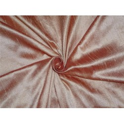 "100% PURE SILK DUPIONI FABRIC YELLOW GOLD X PINKY RED 54"" WITH SLUBS*"
