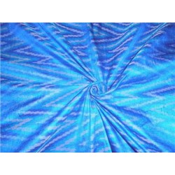 100% pure silk dupioni ikat fabric in blue 44""