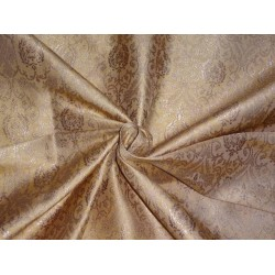 PURE SILK BROCADE FABRIC GOLD X METALLIC GOLD COLOR