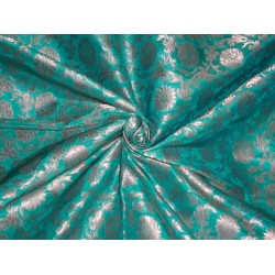 PURE SILK BROCADE FABRIC GREEN WITH METALLIC GOLD