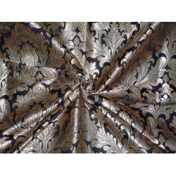 PURE SILK BROCADE FABRIC JET BLACK ANTIQUE GOLD METALLIC GOLD