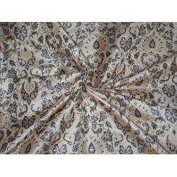 PURE SILK BROCADE FABRIC ROYAL BLUE IVORY METALLIC GOLD