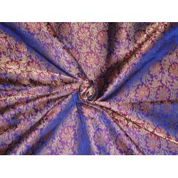 SILK BROCADE FABRIC ROYAL BLUE PINK METALLIC GOLD
