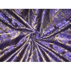 PURE SILK BROCADE FABRIC ROYAL BLUE WITH METALLIC GOLD 44 INCHES