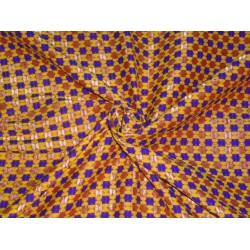 PURE SILK BROCADE FABRIC ROYAL BLUE,YELLOW,MAROON,GOLD COLOR