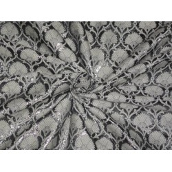 PURE SILK BROCADE FABRIC SILVER GREY WITH IVORY 44 INCHES