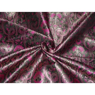 SILK BROCADE FABRIC VIOLET METALLIC OLD GOLD