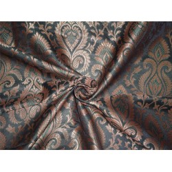 "SILK BROCADE IRIDESCENT GREEN X BLACK,METALLIC GOLD COLOR 44""INCH"