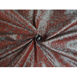 SILK BROCADE MAROON AND BLUE 44 INCHES