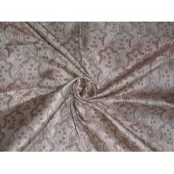 PURE SILK BROCADE TAUPE & FAWN HALF PAISLEY 44 INCHES