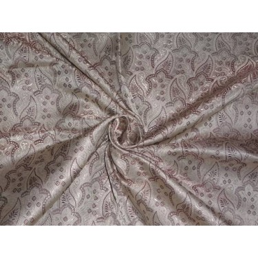 SILK BROCADE TAUPE & FAWN HALF PAISLEY 44 INCHES