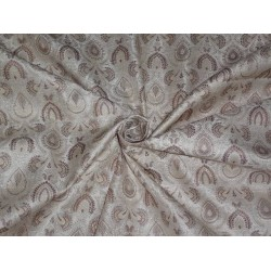 "SILK BROCADE 44""INCHES CREAM,IVORY X BROWN COLOR"