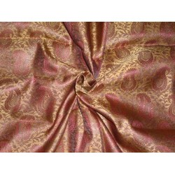 "Silk Brocade 44""inches Maroon and Metallic Gold Color  BRO373[1] by the yard"