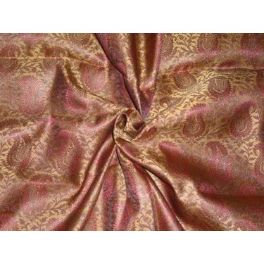 """Silk Brocade 44""""inches Maroon and Metallic Gold Color"""