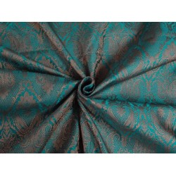 "SILK BROCADE 44""INCHES KINGFISHER GREEN & BROWNISH GOLD COLOR"