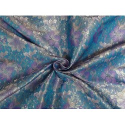 "SILK BROCADE BLUE,PURPLE,IVORY & GOLD COLOR 44""INCH"