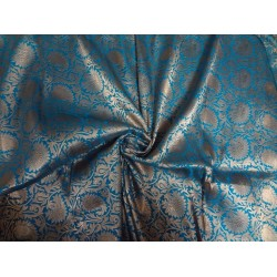 SILK BROCADE FABRIC BLUE X ANTIQUE GOLD COLOR