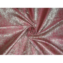 SPUN BROCADE FABRIC LIGHT PINK X PINK WITH GOLD COLOR