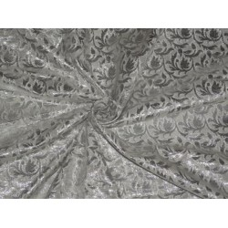 SPUN BROCADE FABRIC IVORY SILVER COLOR