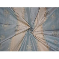STUNNING SILK TAFFETA JACQUARD~ Powder Blue and Gold