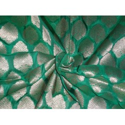 URE SILK BROCADE FABRIC PEACOCK GREEN WITH METALLIC GOLD