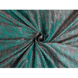 SILK BROCADE FABRIC SEA GREEN WID RED,METALLIC GOLD