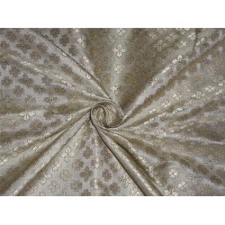 "BROCADE PASTEL GREEN X LIGHT GOLD COLOR 44""INCH"