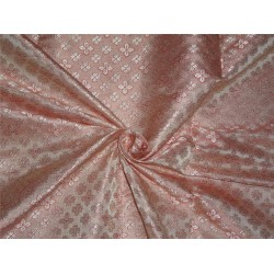 "BROCADE PASTEL PEACHY PINK X SILVER COLOR 44""INCH"